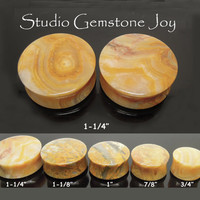 "STONE body Jewelry- 1-1/4"" Natural Yellow Lace Agate Piercing Double Flare Earplug - 1Pair"