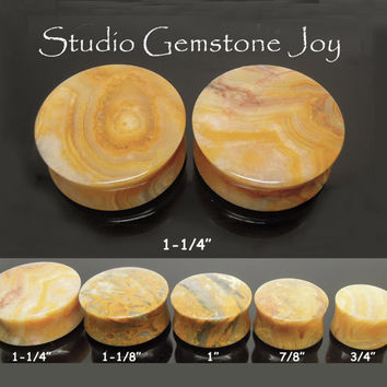 """STONE body Jewelry- 1-1/4"""" Natural Yellow Lace Agate Piercing Double Flare Earplug - 1Pair"""