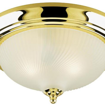 Three-Light Indoor Flush-Mount Ceiling Fixture, Polished Brass Finish with Frosted Swirl Glass
