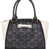 HELLO KITTY BLK/CREAM EMBOSSED CROSSBODY BAG WITH BOW
