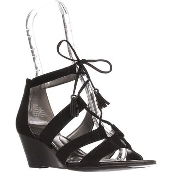 Bandolino Opiuma Lace-Up Wedge Sandals, Black, 6 US