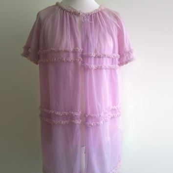 Vintage lilac peignoir - swishy 1960s sheer robe  -  purple frilly negligee - retro pin up lingerie