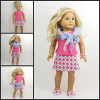 American Girl Doll Clothes Skirt Set includes Tank, Bracelet, Skirt, and Scarf