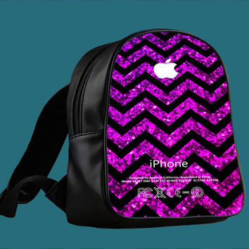 Chevron Purple Sparkle Not Real Glitter for Backpack / Custom Bag / School Bag / Children Bag / Custom School Bag *