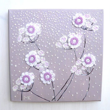 Home Decor Collage Painting EggShell Mosaic Wall Art White Crochet Flowers Decor On Light Lavender Wall Hanging Gift Ideas for MOM for You