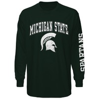 Michigan State Spartans Green Big Arch N' Logo Long Sleeve T-Shirt