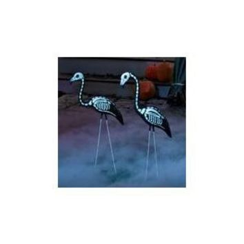 2 Halloween Skeleton Yard Flamingos Lawn Decor