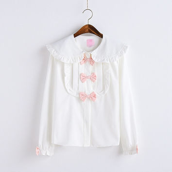 Lacy Peter Pan Top With Bows