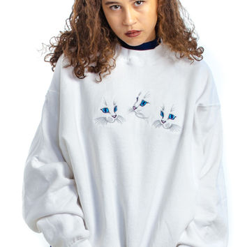 Vintage 90's All My Children Three Kitty Pullover - One Size Fits Many