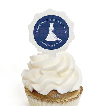 Wedding Dress Blue - Personalized Bridal Shower Cupcake Pick and Sticker Kit - 12 ct