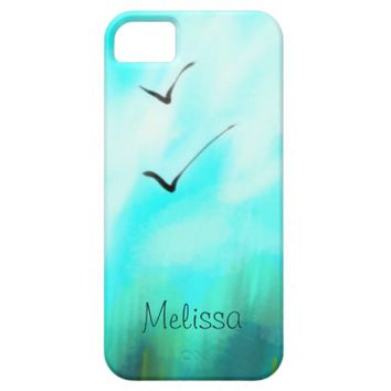 Two Summer Birds Flying Blue Watercolor Your Name iPhone SE/5/5s Case
