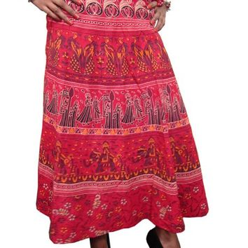 Indi Wrap Skirt Red Tribal Print Boho Hippy Sarong Wrap Around Skirt Dress