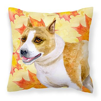 American Staffordshire Fall Fabric Decorative Pillow BB9905PW1414