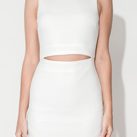 White Sleeveless Cut-Out Bodycon Mini Dress