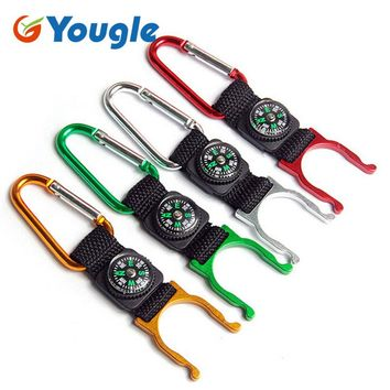 YOUGLE 5 pcs 5 Colors Camping Aluminum Carabiner Belt Clip Compass Water Bottle Holder