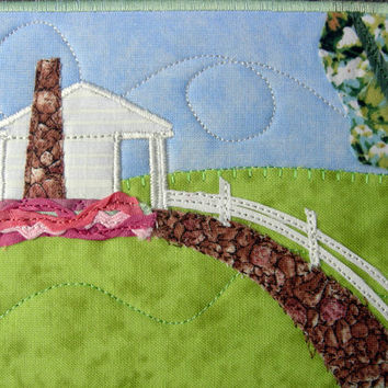 Fabric Postcard, House in the Country Fiber Art, Handmade Quilted Greeting Card, Postcard Art