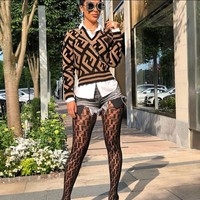 Fendi autumn and winter trend women's long-sleeved sweater or stockings