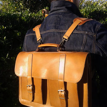 Handmade Leather School Backpack Briefcase