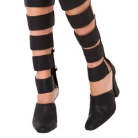 Strappy Knee High Cut Out Black Heeled Boots