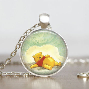 "Glass Tile Pendant Winnie the Pooh Necklace Gift Glass Tile Pendant Necklace 1"" Silver Round Winnie Pooh Jewelry Gift"