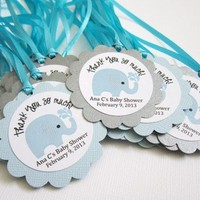 Personalized Elephant Favor Tags for Baby Boy Shower Party in Blue
