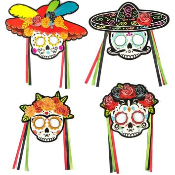 Set of 4 Day of the Dead Party Mask Masquerade Masks Sugar Skull DIY Photo Booth Wedding Halloween Birthday Mexican Fiesta Decor