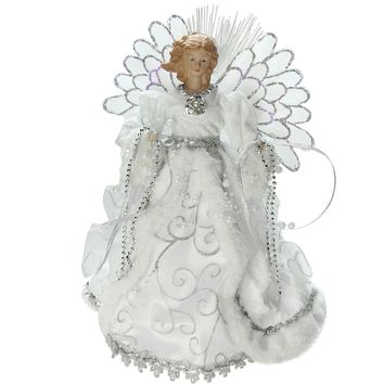 "13"" Lighted Fiber Optic Angel with White Gown Christmas Tree Topper"