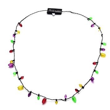 Party Bulb Necklaces For Adults Kids Festival Necklace LED Light Up Plastic Flashlight Luminous Christmas