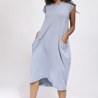 Grey Long T-Shirt Dress With Pockets