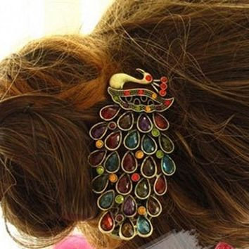 2016 NEW 1 PCS Fashion Girls Women Vintage Colorful Rhinestone Peacock Hairpin Hair Clip Hair Accessories