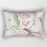 Light Pink Flower Pillow, Rectangular Throw Pillow, Pink Throw Pillow, Pink Floral Pillow, Romantic Pillow, Light Pink Pillows, Blush Pillow