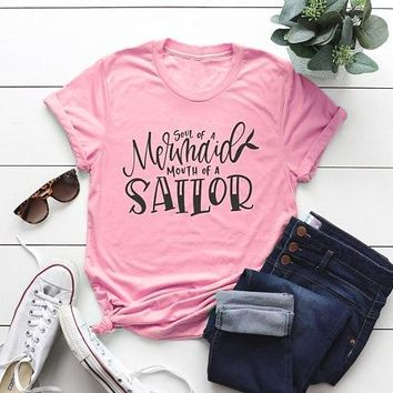 Soul of a Mermaid mouth of a Sailor Hipster T-Shirt Funny Letter Harajuku Tee Unisex Pink Clothing Mermaid Lover Graphic Tops