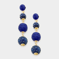 Navy Blue & Gold Double Thread Ball Fire Ball Earrings