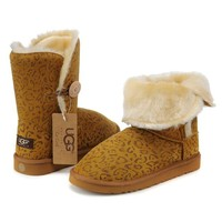 UGG Women Fashion Leopard Wool Snow Boots Half Boots Shoes
