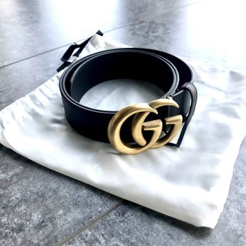 GUCCI Tide brand classic double G buckle men and women wild retro smooth buckle belt