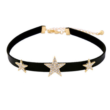 Stars Shape Leather Choker Necklace