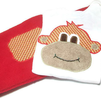 Baby Boy Monkey Outfit - Boy Bodysuit Set -  Baby Boy Sock Monkey- Baby Winter Clothes,   Peapodlilfrogs