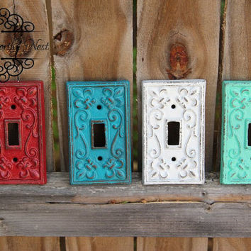 Custom- Choose your color -Cast Iron switch plates // light switch covers // switchplate // custom switchplates // cast iron light covers //