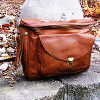 distressed leather camera bag. brown leather camera bag. made by Hinson of Waterloo, IA