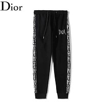 Dior New fashion letter string mark print couple pants Black