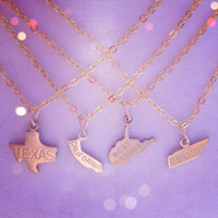Tiny Gold State Necklace PICK YOUR STATE