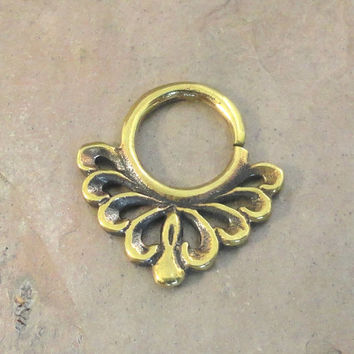 14 Gauge Brass Scroll Septum Ring Hoop Bull Ring Nose Piercing