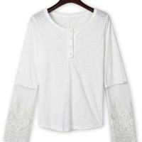 White Lace Panel Button Front Long Sleeve Blouse