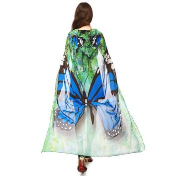 Blue Mesh Butterfly Hooded Cape Robe Dance Costume Rave Wear Halloween