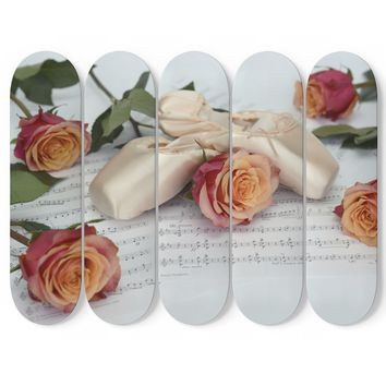 Ballet Slippers and Roses 5x Skateboard Wall Art