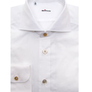 Kiton Solid White Dress Shirt