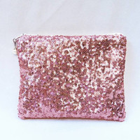 Dusty Rose Sequin Clutch/Makeup/Toiletries Bag Glittery Sparkly Metallic Pink Sequins With Cream Zipper & Optional Color Bead Zipper Pull