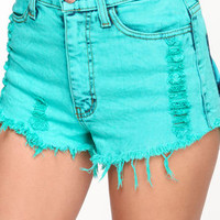 Color Cut Off Denim Shorts - LoveCulture