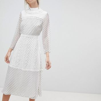 ASOS Spot Embroidered Midi Dress at asos.com