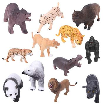 12pcs Miniature Fairy Garden Ornament Micro Landscape Wild Animal Figurines Dollhouse Plastic Decoration For Mini Garden Decor